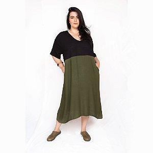 Vestido Amplo Bicolor Preto|Verde