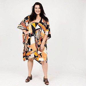 Vestido Kimono Geométrico Laranja Preto e Amarelo