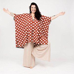 Vestido Kimono Poá Terracota