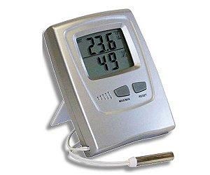 TERMOHIGROMETRO DE MAXIMA E MINIMA DIGITAL TEMP INT 0+50ºC EXT -50+70ºC 15 A 95% UMIDADE