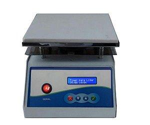 AGITADOR MAGNETICO DIGITAL COM AQUECIMENTO 12L 2000RPM 220V PLATAFORMA PIROCERAMICA