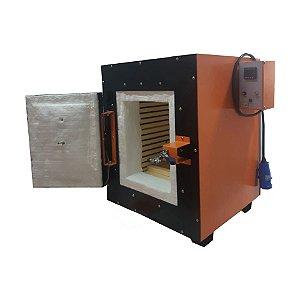 FORNO MUFLA 100L TEMPERATURA 1200°C DIMENSOES INTERNAS 450X500X450MM TRIFASICO 380V