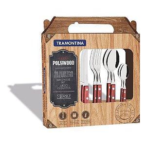 Faqueiro Tramontina  24 Pçs  Polywood Vermelho com Lâminas em Aço Inox - 21199705