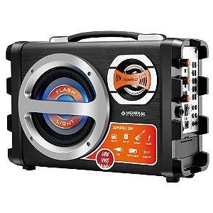 Caixa Amplificada Mondial Mc0-02 - 40w, P10 E Usb, Fm, Gravador E Bateria Recarregável + Microfone - Bivolt