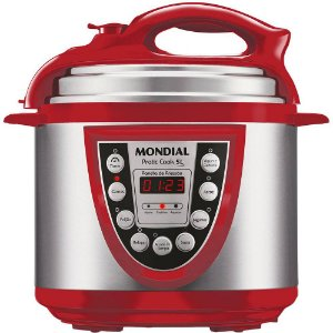 Panela Elétrica de Pressão Mondial Pratic Cook 5L Vermelho/Inox