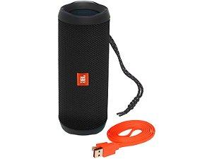 Caixa de Som Portátil JBL Flip4 Conexão Bluetooth à Prova D'água 16W Bivolt - Black