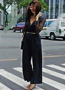 Macacão feminino modelo V Sexy-Long Neck Sleeve Wide preto