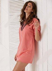 Vestido casual, pink, meia manga, gola redonda, verão, lindo e sensual, para mulheres livres e modernas