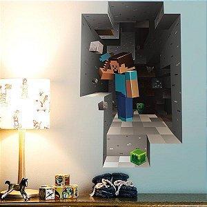 Adesivo decorativo de parede para quarto de criança em 3D mosaico Minecraft