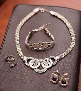 Conjunto de colar feminino com círculos, anel, pulseira e brincos, prata, colar pingente