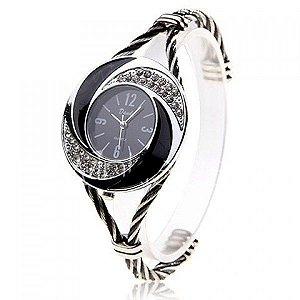 Relógio de pulso, feminino, quartz, Daudy, visor preto, pulseira com imitação de diamante, muito elegante