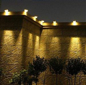 Luminária de Enercia Solar de LED, para parede, jardim, cerca, entrada, caminho,luz branca - Preta