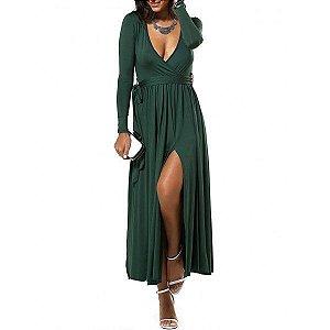 Vestido decote profundo, cor sólida, verde escuro ou preto, fenda alta, com cinto, lindo e sensual