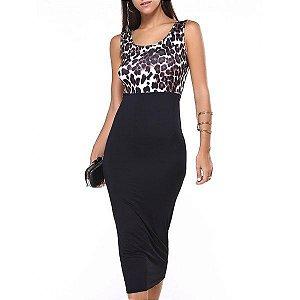 Vestido cintura alta, detalhe Leopardo, sem mangas, preto, verão, lindo e sensual