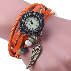 Relógio de pulso, feminino, quartz, pulseira de tecido e couro, com pingente de asa, caixa de liga, muito atraente