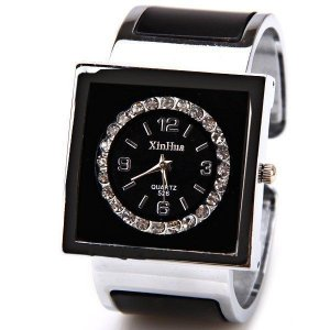 Relógio de pulso XinHua, feminino, 4 números arábicos, quartz, quadrado, aço, preto, muito elegante