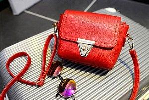 Bolsa feminina de couro, pequena, espaço para celular, bolso com zíper, estilo para ombro e tiracolo