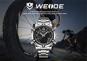 Relógio de pulso esportivo de luxo, marca WEIDE, dual time, pulseira de Aço, mostrador LCD, alarme digital, Quartz