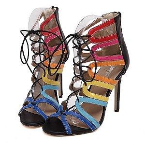 Sandália feminina gladiadora, salto alto, de amarrar, protetor de calcanhar, multicolor, da DijiGirls, para arrasar