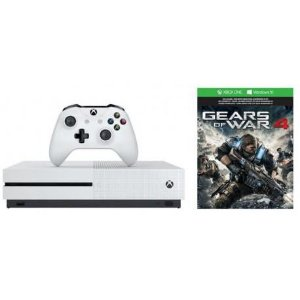 Console Xbox One S 1TB mais Gears Of War 4 (via download Xbox Live)  Bivolt - Branco