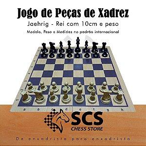 Jogo de Peças de Xadrez com peso e feltro - Modelo Jaehrig - Rei com 10 cm