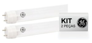 KIT 2 Lâmpadas Led Tubular T8 18W | 1200mm | 4.000K | Bivolt | Tube Glass