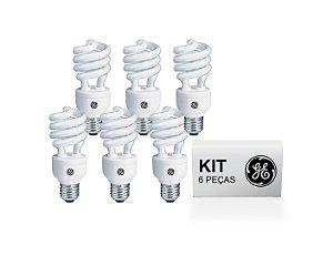 KIT 6 Lâmpadas Fluor Compacta Espiral 827 |24W | 2700K | 127V