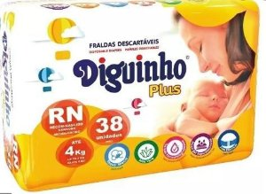 Fraldas RN - Diguinho com 38 unidades (  4 Pacotes )