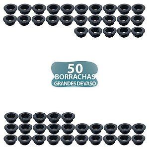 50 BORRACHA PRETA DE VASO GRANDE COM ABA PARA NARGUILE