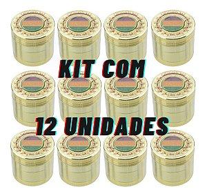 KIT COM 12 DICHAVADOR DE METAL PEQUENO 4 PARTES FOLHA GOLD