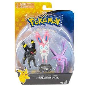 Pokémon Pack com 3 Figuras - Espeon, Umbreon e Sylveon