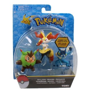 Pokémon Pack com 3 Figuras - Quilladin, Braixen e Frogadier