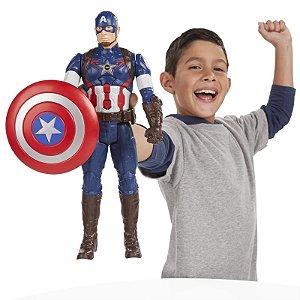 Boneco Titan Hero Tech Avengers Capitão America Eletrônico 30 cm