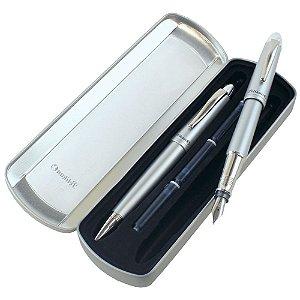 Conjunto Pelikan (Caneta Tinteiro + Esferográfica) Silverstar