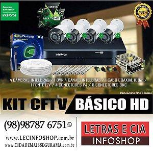 KIT CFTV BÁSICO INTELBRAS 4 CÂMERAS DVR CABO COAXIAL FONTE CONECTORES