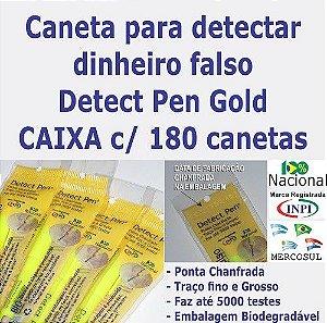 CAIXA COM 180 CANETAS Detect Pen Gold. Detector de notas falsas. Produto para revenda em Papelarias e Lojas de Variedades.