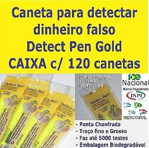 CAIXA c/ 120 canetas Detect Pen Gold. Detector de dinheiro falso para revender em sua loja