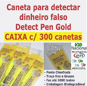 CAIXA c/ 300 canetas Detect Pen Gold. Detector de notas falsas. Produto para revenda em Papelarias e Lojas de Variedades.