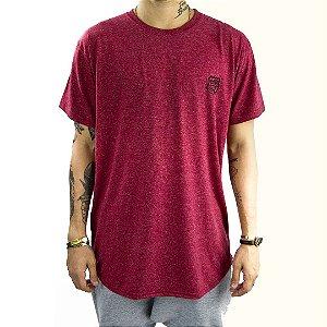 T-shirt Longline tecido mescla na cor bordeaux