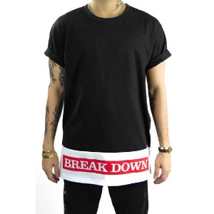 T-shirt com barra em recorte estilo oversized Break Down