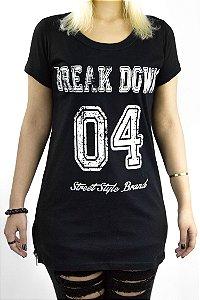 Tshirt modelagem oversized com fecho lateral estampa 04 STREET STYLE BRAND