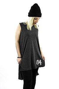 Vestido em algodão mescla chumbo com abertura lateral 04