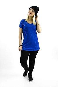 T-shirt com bolso em malha mescla azul royal