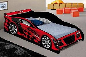 Cama Infantil Carro Speedy Racing Vermelha em MDF