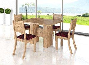 Sala Kaly G com Tampo de Madeira e 4 Cadeiras - Viero Móveis