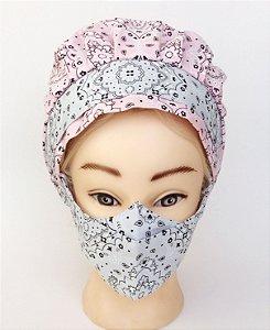 Touca com máscara rosa com cinza