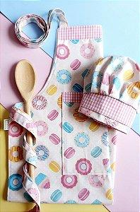 Avental de cozinha com touca infantil