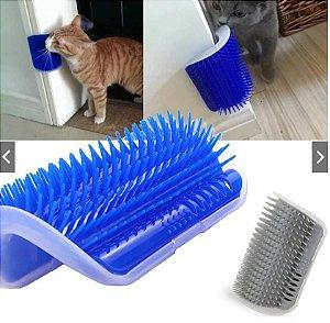 Escova De Parede Para Gatos 2 Em 1 ( Massagem e Tira Pelos ) com Catnip