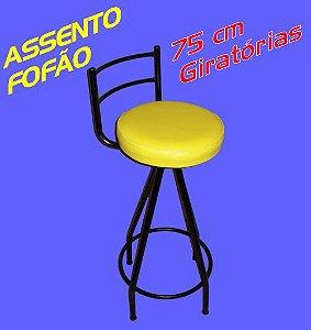 Banqueta Giratória Alta 75 Cm Assento Fofão