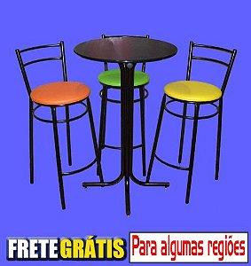 Conjunto Mesa Bistrô Alta com 3 Banquetas Reforçadas Assento Largo